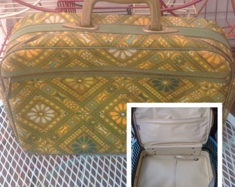 Vintage yellow green floral mid century modern small suitcase