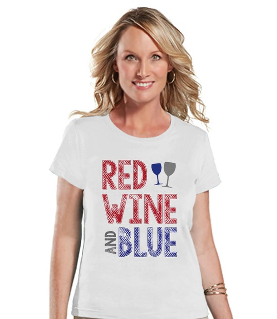 Women 39 s 4th of july shirt red wine and blue shirt for Red and blue t shirt