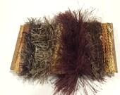 ice yarns SAMPLES fiber art bundle cards BROWN SHADES eyelash sweet rings spring lurex funfur metallic scrap booking knitting crochet supply
