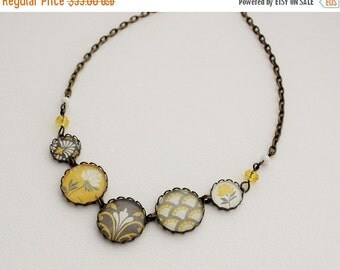SALE Modern Mustard Yellow and Gray Statement Necklace. Gift for her under 40 usd.