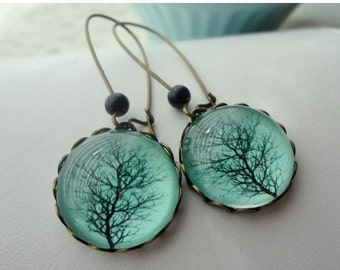 Aqua Winter Tree Earrings. Black. Branches. Gift for her under 25 usd
