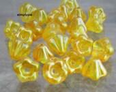 Satin Yellow Buttercup Baby Bell, Czech Flower Glass Beads 25
