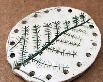 Ferny Forest Floor Basket Base for Coiling, White Green, Evergreen