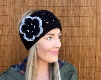 Black Headband w/ Flower & Natural Vegan Coconut Shell Buttons Headwrap Earwarmers Grey Gray Hair Band Woman Fashion Wrap Accessory