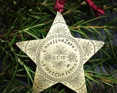 Star metal ornament custom in copper brass or nickel silver Handstamped Personalized -First Christmas, Commemorative, Memorial, Keepsake