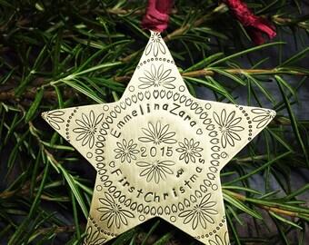 Star metal ornament custom in copper brass or nickel silver Handstamped Personalized -First Christmas, Commemorative, Memorial, Keepsake