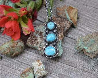 Handmade Sterling Silver and Turquoise Necklace Three Stone Royston Mine