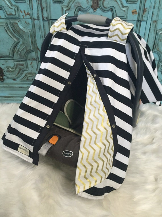 Car seat canopy Black and Gold  / Car seat cover / car seat canopy / carseat cover / carseat canopy / nursing cover