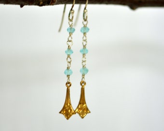 Vintage Brass, Apatite and Sterling Silver Dangle Earrings