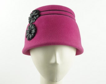 Pink Berry CLOCHE HAT for Women - Women's Winter Hat - Bucket Hat - Ladies Winter Hat - Handmade Hat - Women's Wedding Hat - Cloche Hats
