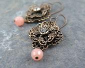 Filigree Earrings, Rhinestone Earrings, Flower Earrings, Lace Earrings, Peach Bridesmaid Earrings