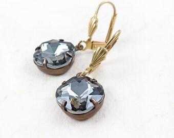 Black Diamond Rhinestone Earrings Cushion Cut Earrings Rhinestone Dangle Earrings Holiday Gift