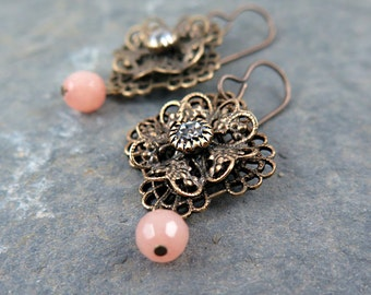 Filigree Earrings, Rhinestone Earrings, Flower Earrings, Lace Earrings, Peach Bridesmaid Earrings
