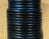 25% OFF Metallic Galaxy Blue European 5mm Round Leather - Choose Your Length