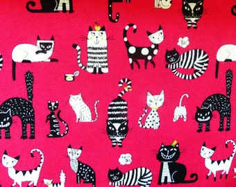 1 yard - Black and white cats, Westex,  Japanese import