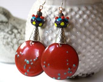Unique Red Earrings, Copper Enamel Earrings, Colorful Earrings, Boho Chic Earrings, Lampwork Glass Bead Earrings, Artisan Enamel Jewelry