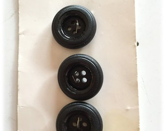 3 Vintage Buttons, French Streamline Buttons, Basic Black Buttons, 4 Hole Buttons,  New on Cards 1970s France