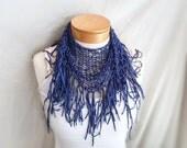 Blue triangle fringe scarf Boho wrap Shawlette Patriotic summer knit scarf Festival fashion scarflette Minimalist fashion Primary color