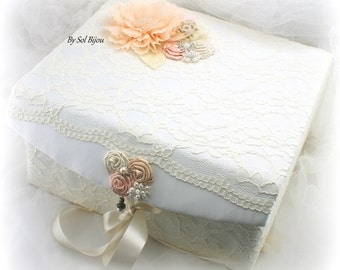 Wedding Keepsake Box, Ivory, Blush, Peach, Cream, Wedding Box, Memory Box, Baby, Lace Keepsake Box, Vintage Style, Pearls, Crystals, Elegant