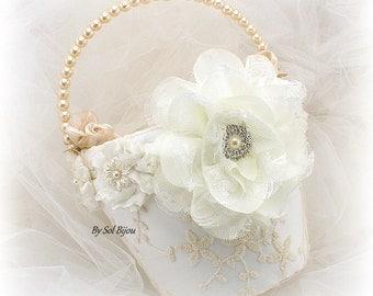 Flower Girl Basket, Ivory, Tan, Beige, Champagne, Vintage Wedding, Lace Girl Basket, Bridal Basket, Lace Flower Basket, Pearls, Floral