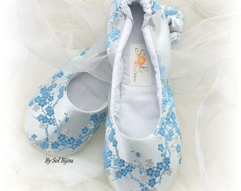 Blue Flats, Blue Ballet Flats, Silver Flats, Wedding, Bridal, Shoes, Flats, Lace Up, Ballerina Slippers, White, Silver, Silk, Something Blue