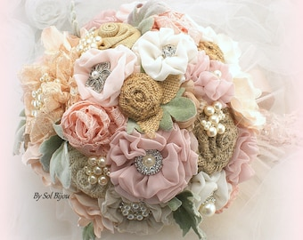 Brooch Bouquet, Shabby Chic, Rose, Rose Quartz, Blush, Gold, Ivory, Vintage Wedding, Burlap Bouquet, Wedding Bouquet, Pearl Bouquet, Rustic