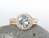 VALENTINES DAY SALE Aquamarine Engagement Ring Wedding Set – Comfort Wedding Band – Aaa Grade Blue Aquamarine