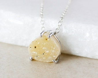 ON SALE Yellow Pear-Shaped Druzy Necklace - Choose Your Druzy - 925 Sterling Silver