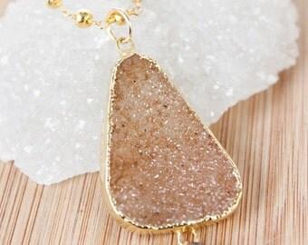 50% OFF Peach Orange Druzy Necklace - Free Form Gemstone - Gold Pyrite Chain, Metallic Gold