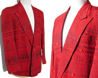 Vintage 70s Red Jacket Mens Modernist Disco Blazer L – by Falcone