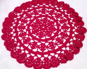 3 tiers Red Hand crocheted  Doily 12 inches diameter in country victorian decor wedding Christmas Holiday winter Valentines day