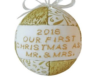 Mr. & Mrs. First Christmas 2016 Ornament Tree Decoration Wedding Gift, Couples Gift, Bride and Groom Gift, by CraftCrazy4U on Etsy