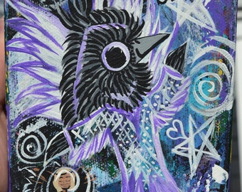 Fairy Bird Art, Baby Crow Painting Original Acrylic Canvas, Violet, Believe
