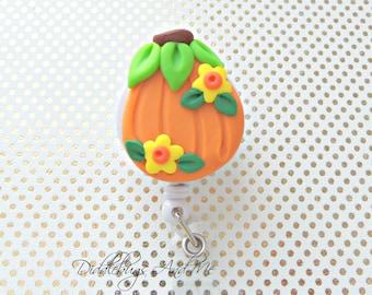 Fall Pumpkin Badge Reel, Pumpkin Retractable Badge Reel, RN Badge Reel, ID Badge Reel, Retractable Badge Reel, Nurse ID, Fall Badge Reel