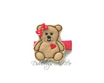 Little Bear Hair Clip, Girls Hair Clip, Bear with Heart Hair Clip, Girls Hair Accessories, Toddler Hair Clips, Baby Hair Clip, Tan Bear Clip