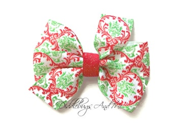 Christmas Damask Hair Bow, Toddler Bows, Holiday Hair Bow, Girls Christmas Hair Bow,  Red And Green Hair Bow, Piggy Tail Bows, Baby Bows