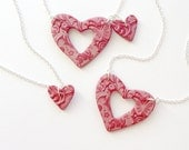 Grandmother, Mother and Daughter Matching Necklace Set in Scarlett Red