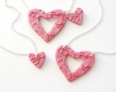 Grandmother, Mother and Daughter Matching Necklace Set in Hot Pink