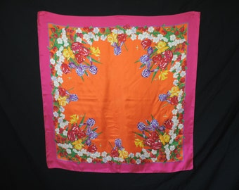 vintage silk scarf Ginnie Johansen botanicals flower print wearable art square