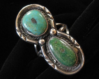 Green and Blue Navajo Turquoise Ring, Two Gorgeous Stones, Size 9 Ring
