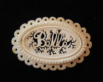 "Victorian Carved Bone Name Brooch ""Belle"""