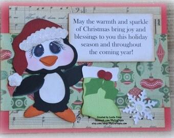 Penguin Christmas  Handmade Paper Piecing 3D Greeting Card