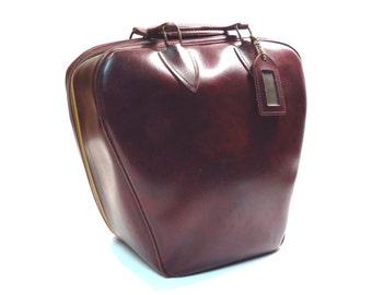 Dark Burgundy Marble Bowling Bag Vintage 1950s 1960s Rockabilly Bowling Ball Bag