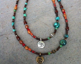 Colorful OM Bohemian Necklace, Multi color, Layered necklace, Turquoise, OM charm Necklace, Gypsy, Mixed Metal, Gypsy, Fall