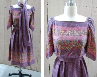 Purple Floral Peasant Dress - 1970s with Belt and Scarf - Size Small