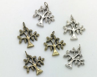 Antique gold or Silver Tree Charms -  20mm size - 6 count