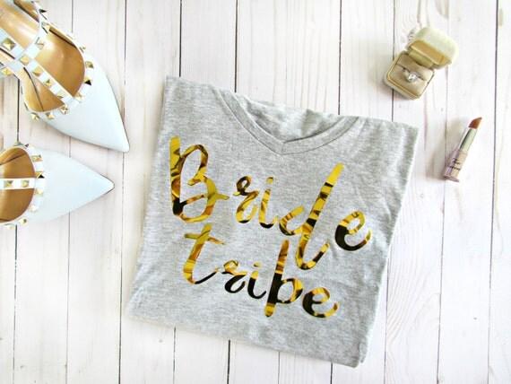 Bride Tribe Cotton Tee Bridal Bachelorette Bridesmaid white blue gray pink wedding tee shirt t-shirt