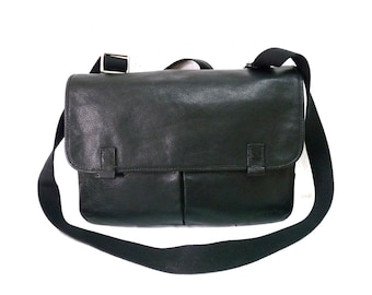 Vintage Fossil Black Leather Briefcase Large Messenger Organizer Laptop Crossbody Portfolio Unisex