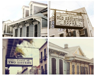 """Collection of Four 8x10"""" or 11x14"""" New Orleans Photographs. 20% Savings. Affordable Home Decor. French Quarter Wall Art."""