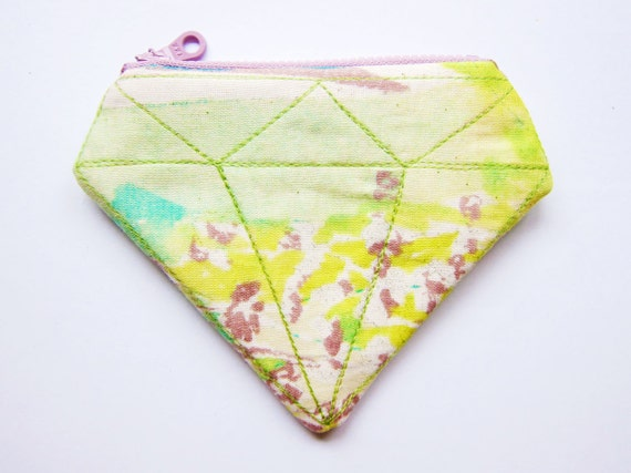 Zipper Pouch / Zipper Coin Purse - Watercolor Diamond